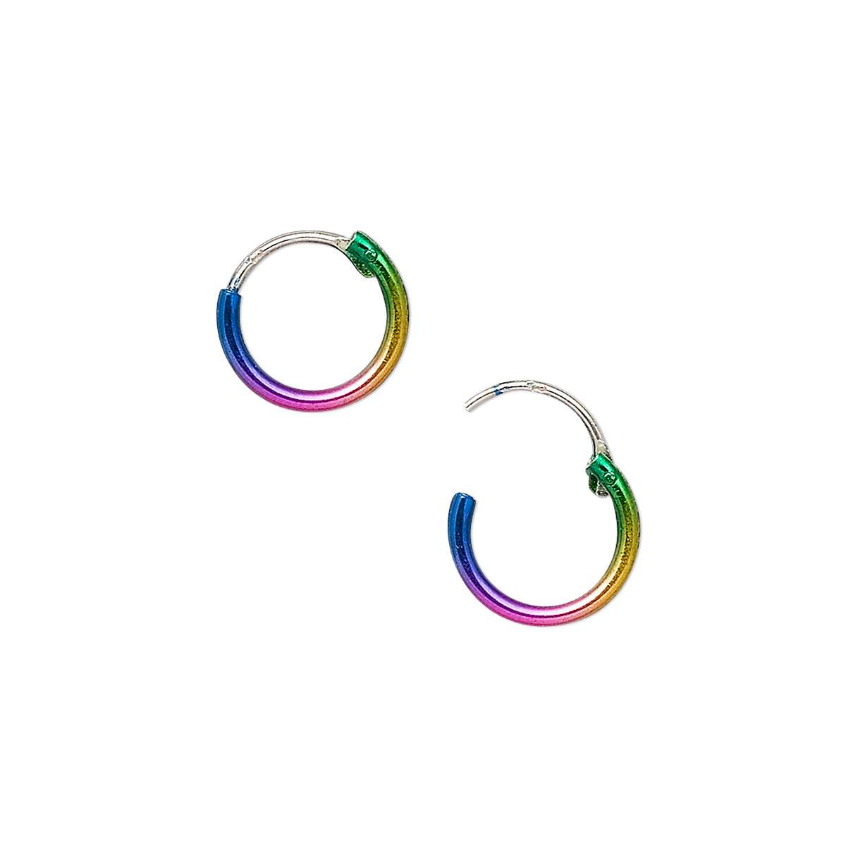 0fc239ee7f1b8 Earring, sterling silver, color-coated rainbow, 10mm round with ...