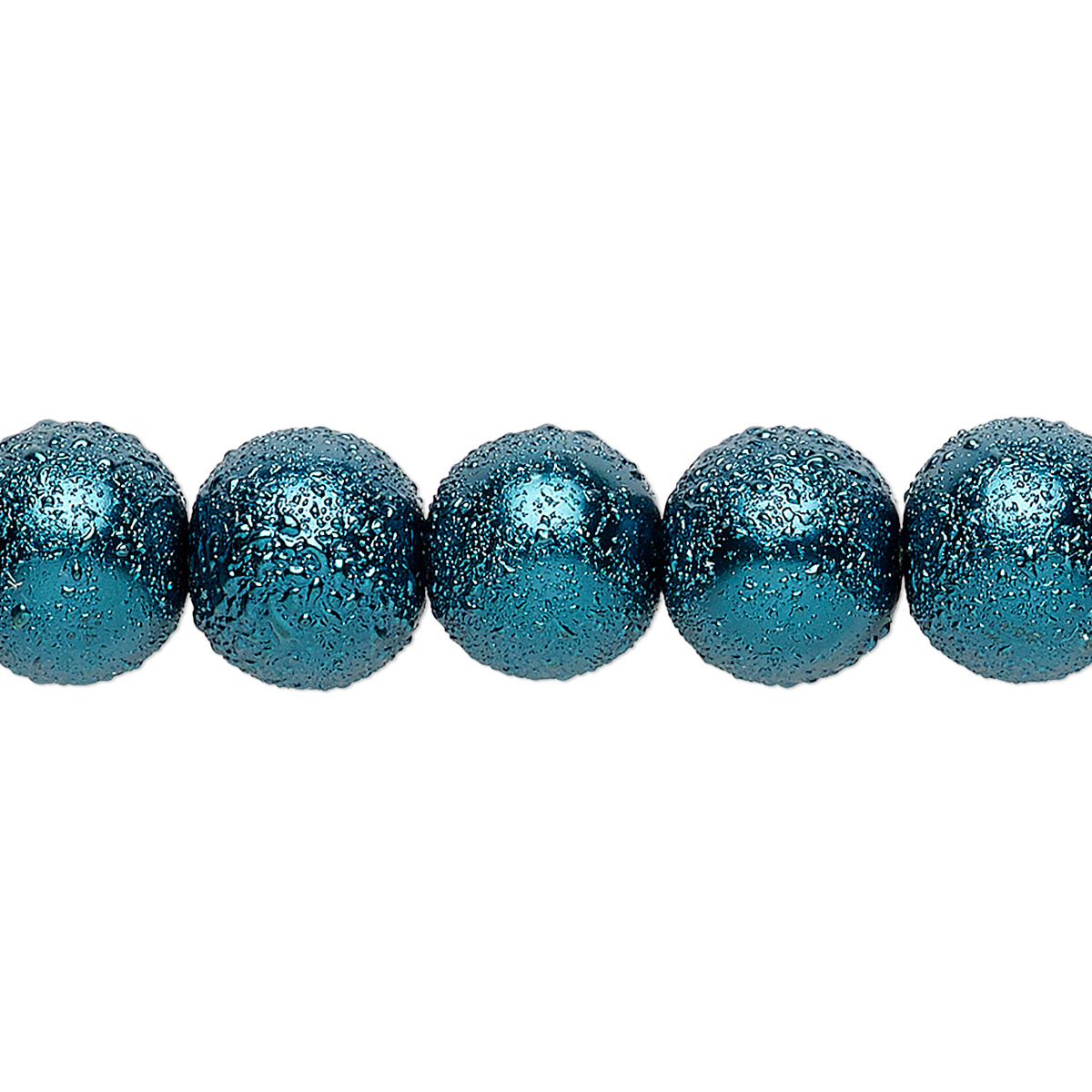 Bead Glass Opaque Teal 10mm Textured Round Sold Per
