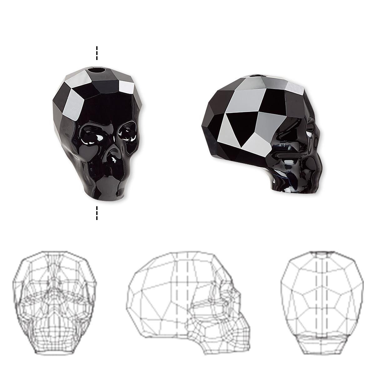 480eefa22491e Bead, Swarovski® crystals, jet, 14x13x10mm faceted skull (5750 ...