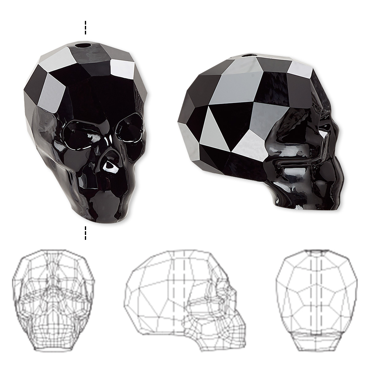 5f69cb8b6b998 Bead, Swarovski® crystals, jet, 19x18x14mm faceted skull (5750 ...