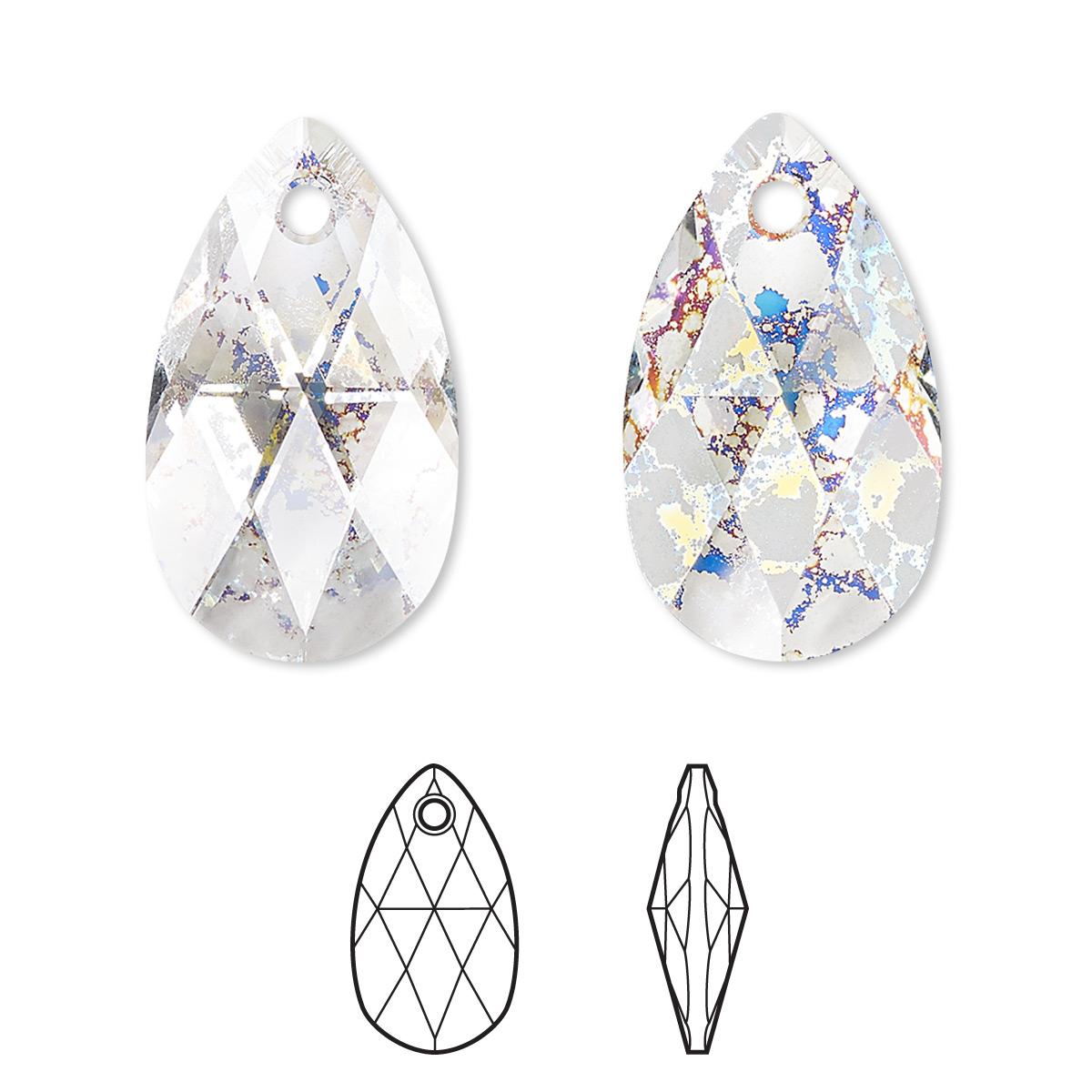 51c30ff55b Drop, Swarovski® crystals, crystal white patina, 22x13mm faceted ...