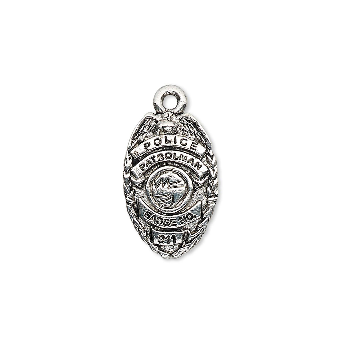 Charm antique copper plated pewter tin based alloy 19x12mm charm antique silver plated pewter tin based alloy 19x12mm single sided police badge with police patrolman badge no 911 sold per pkg of 2 mozeypictures Choice Image