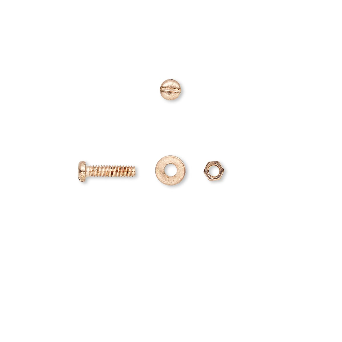 Micro hardware, copper-plated brass, 2 5x1 5mm nut / 4x0 5mm washer