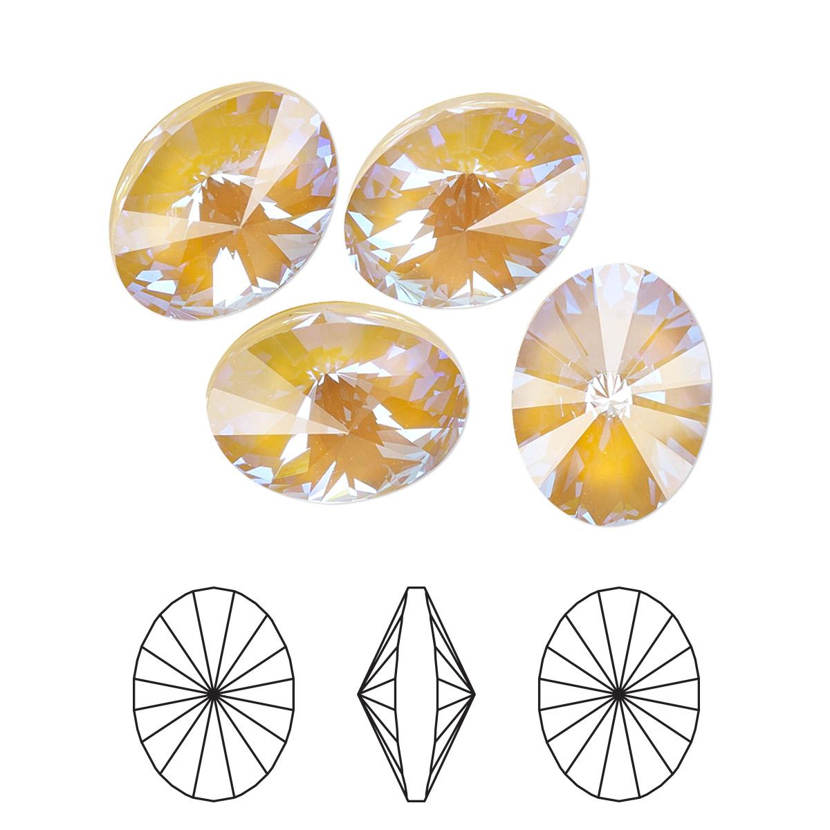 c1fe1450f020f Chaton, Swarovski® crystal rhinestone, crystal ochre DeLite, 14x10 ...