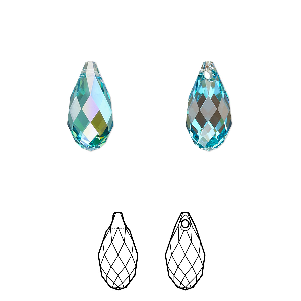 ab2f2449ad1e4 Drop, Swarovski® crystals, light turquoise glacier blue, 13x6.5mm ...